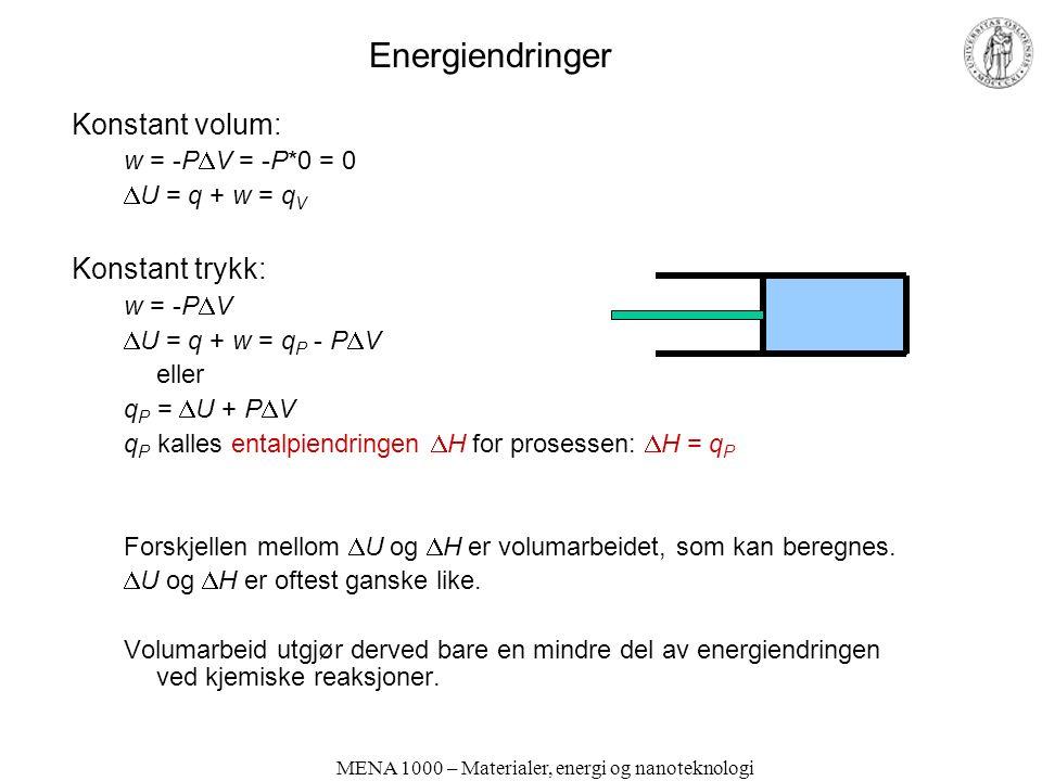 MENA 1000 – Materialer, energi og nanoteknologi Energiendringer Konstant volum: w = -P  V = -P*0 = 0  U = q + w = q V Konstant trykk: w = -P  V  U = q + w = q P - P  V eller q P =  U + P  V q P kalles entalpiendringen  H for prosessen:  H = q P Forskjellen mellom  U og  H er volumarbeidet, som kan beregnes.