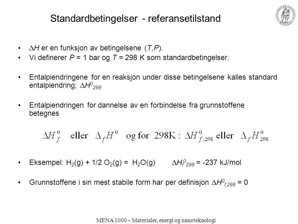 MENA 1000 – Materialer, energi og nanoteknologi Standardbetingelser - referansetilstand  H er en funksjon av betingelsene (T,P). Vi definerer P = 1 b