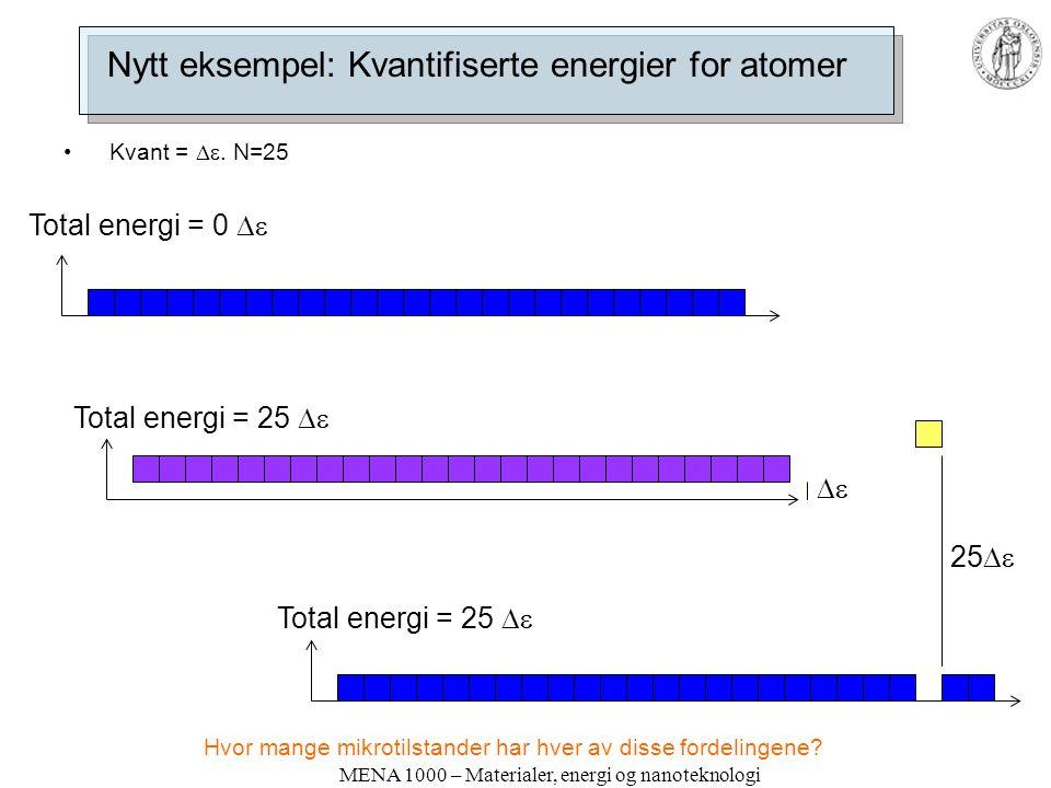MENA 1000 – Materialer, energi og nanoteknologi Nytt eksempel: Kvantifiserte energier for atomer Kvant = .