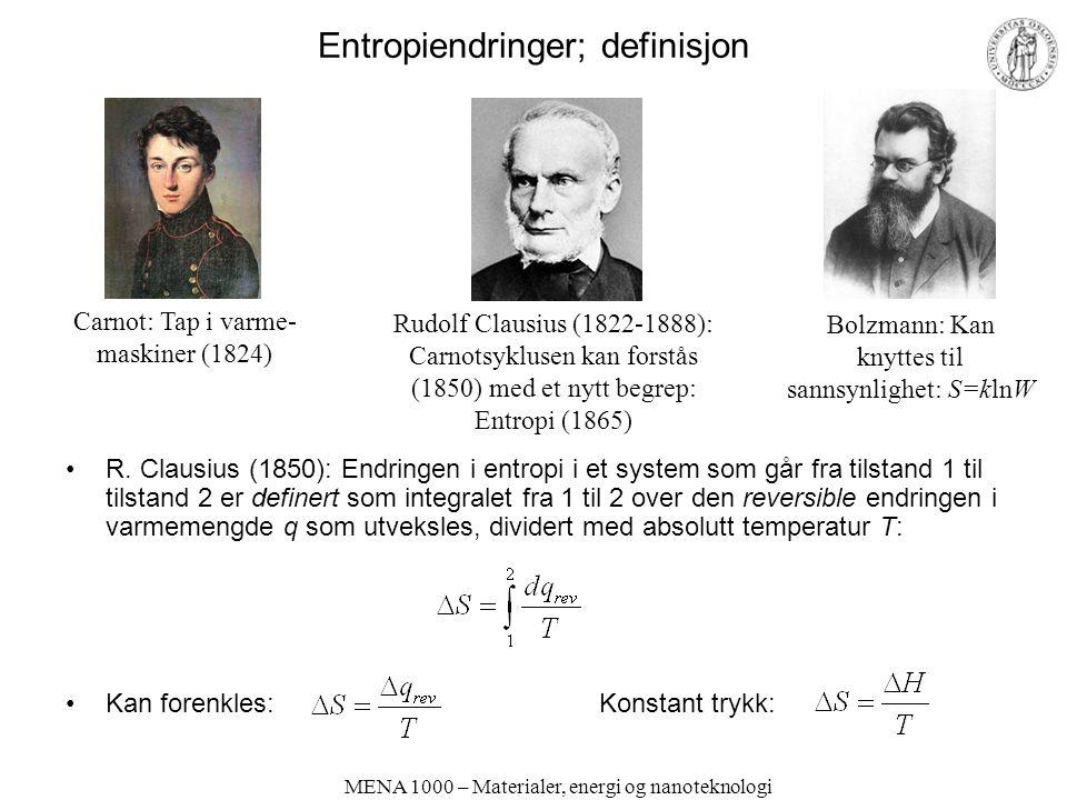 MENA 1000 – Materialer, energi og nanoteknologi Entropiendringer; definisjon R. Clausius (1850): Endringen i entropi i et system som går fra tilstand