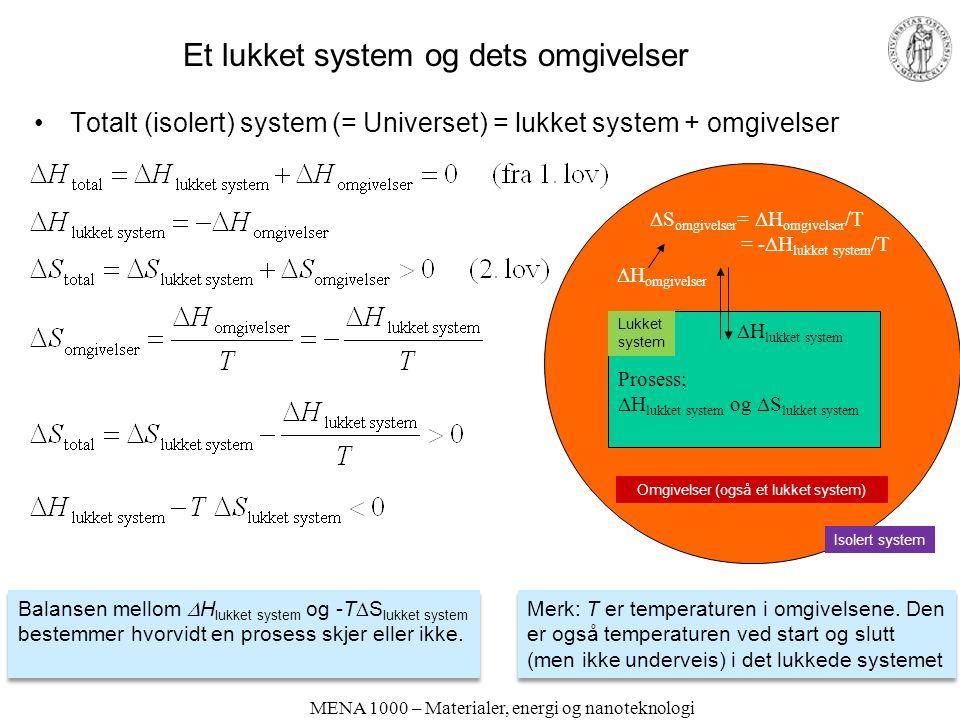 MENA 1000 – Materialer, energi og nanoteknologi Et lukket system og dets omgivelser Totalt (isolert) system (= Universet) = lukket system + omgivelser