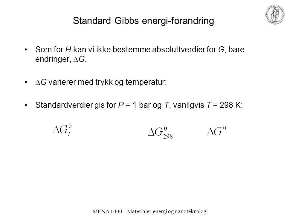 MENA 1000 – Materialer, energi og nanoteknologi Standard Gibbs energi-forandring Som for H kan vi ikke bestemme absoluttverdier for G, bare endringer,