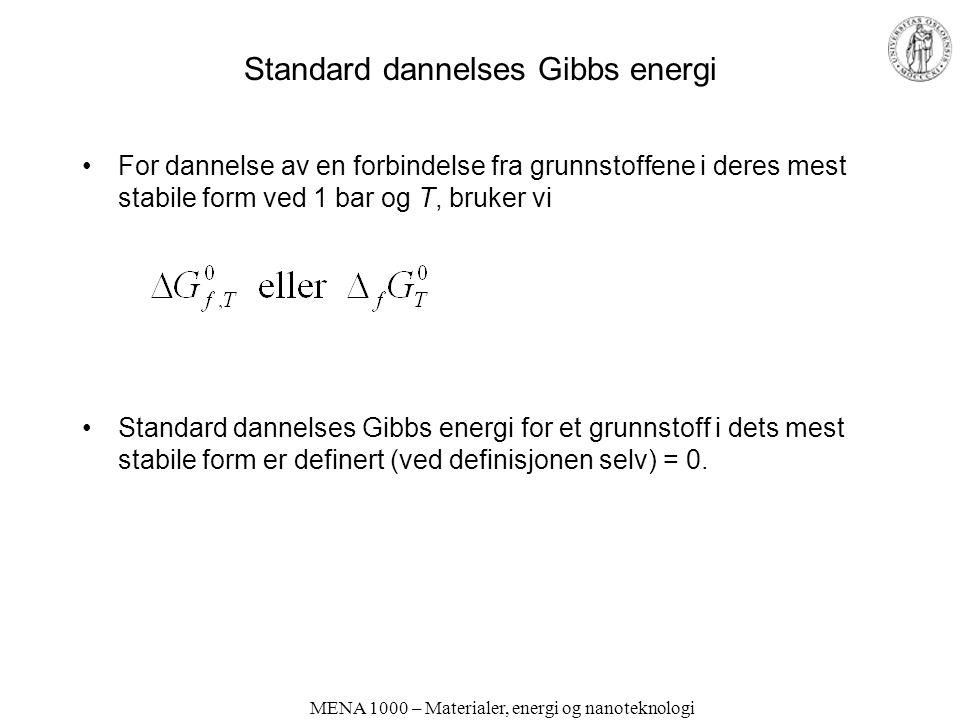 MENA 1000 – Materialer, energi og nanoteknologi Standard dannelses Gibbs energi For dannelse av en forbindelse fra grunnstoffene i deres mest stabile form ved 1 bar og T, bruker vi Standard dannelses Gibbs energi for et grunnstoff i dets mest stabile form er definert (ved definisjonen selv) = 0.