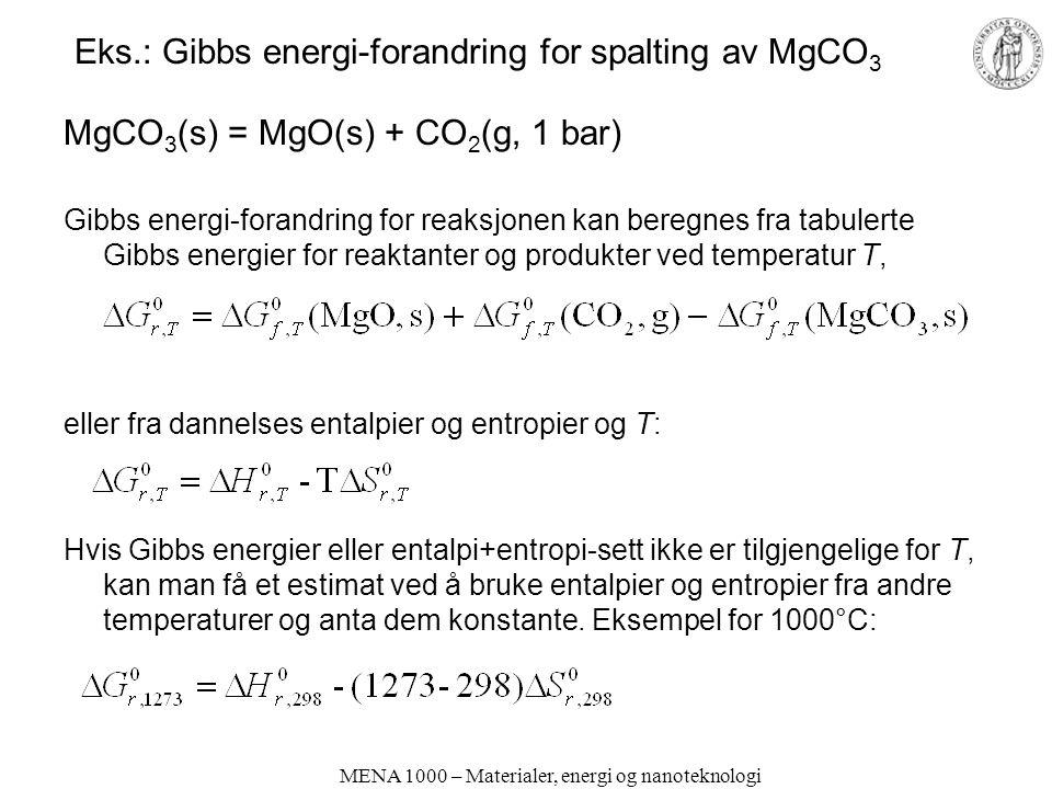 MENA 1000 – Materialer, energi og nanoteknologi Eks.: Gibbs energi-forandring for spalting av MgCO 3 MgCO 3 (s) = MgO(s) + CO 2 (g, 1 bar) Gibbs energ