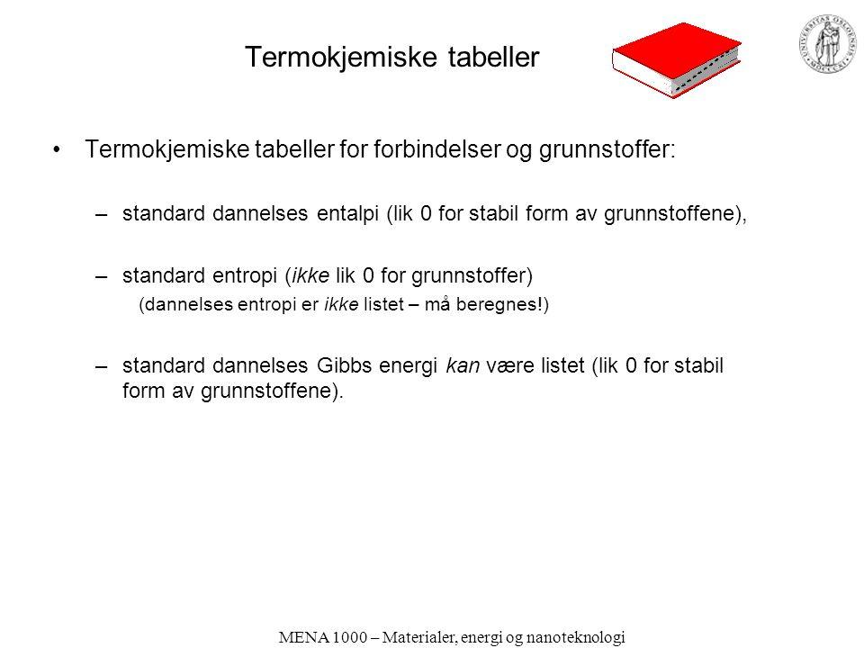 MENA 1000 – Materialer, energi og nanoteknologi Termokjemiske tabeller Termokjemiske tabeller for forbindelser og grunnstoffer: –standard dannelses entalpi (lik 0 for stabil form av grunnstoffene), –standard entropi (ikke lik 0 for grunnstoffer) (dannelses entropi er ikke listet – må beregnes!) –standard dannelses Gibbs energi kan være listet (lik 0 for stabil form av grunnstoffene).