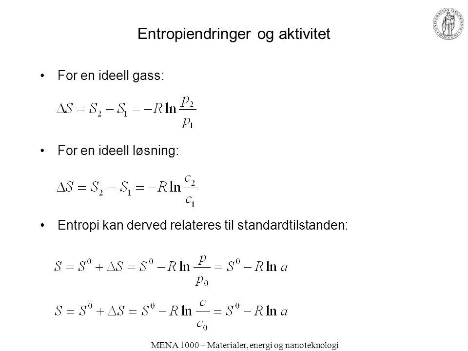 Entropiendringer og aktivitet For en ideell gass: For en ideell løsning: Entropi kan derved relateres til standardtilstanden: