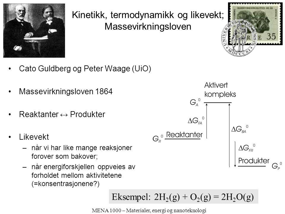Kinetikk, termodynamikk og likevekt; Massevirkningsloven Cato Guldberg og Peter Waage (UiO) Massevirkningsloven 1864 Reaktanter ↔ Produkter Likevekt –når vi har like mange reaksjoner forover som bakover; –når energiforskjellen oppveies av forholdet mellom aktivitetene (=konsentrasjonene ) MENA 1000 – Materialer, energi og nanoteknologi Eksempel: 2H 2 (g) + O 2 (g) = 2H 2 O(g)