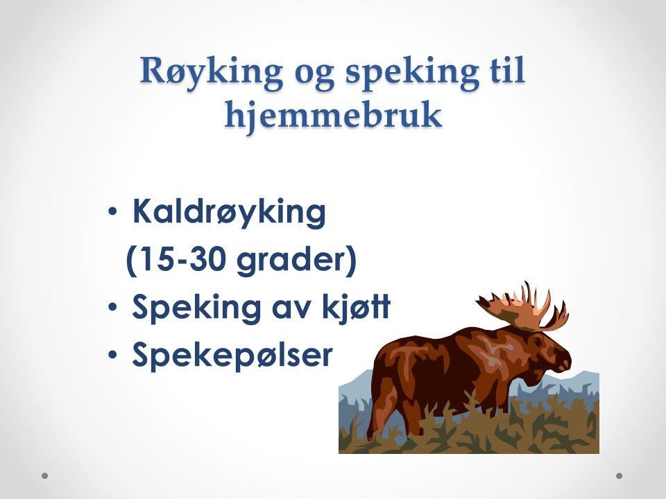 Røyking og speking til hjemmebruk Kaldrøyking (15-30 grader) Speking av kjøtt Spekepølser