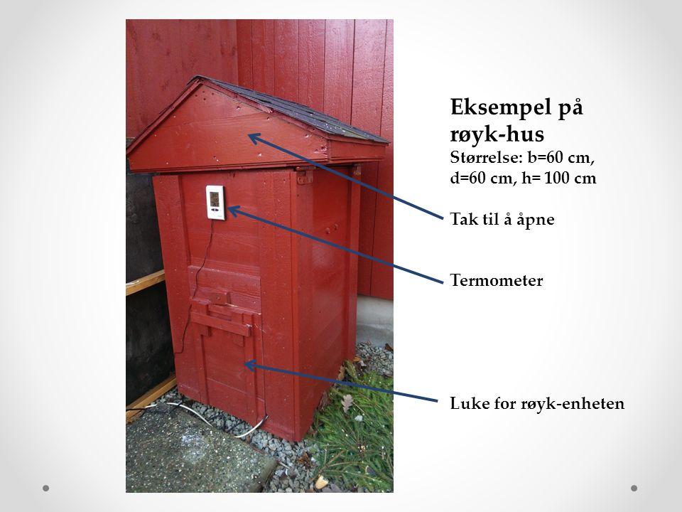 Eksempel på røyk-hus Størrelse: b=60 cm, d=60 cm, h= 100 cm Tak til å åpne Termometer Luke for røyk-enheten