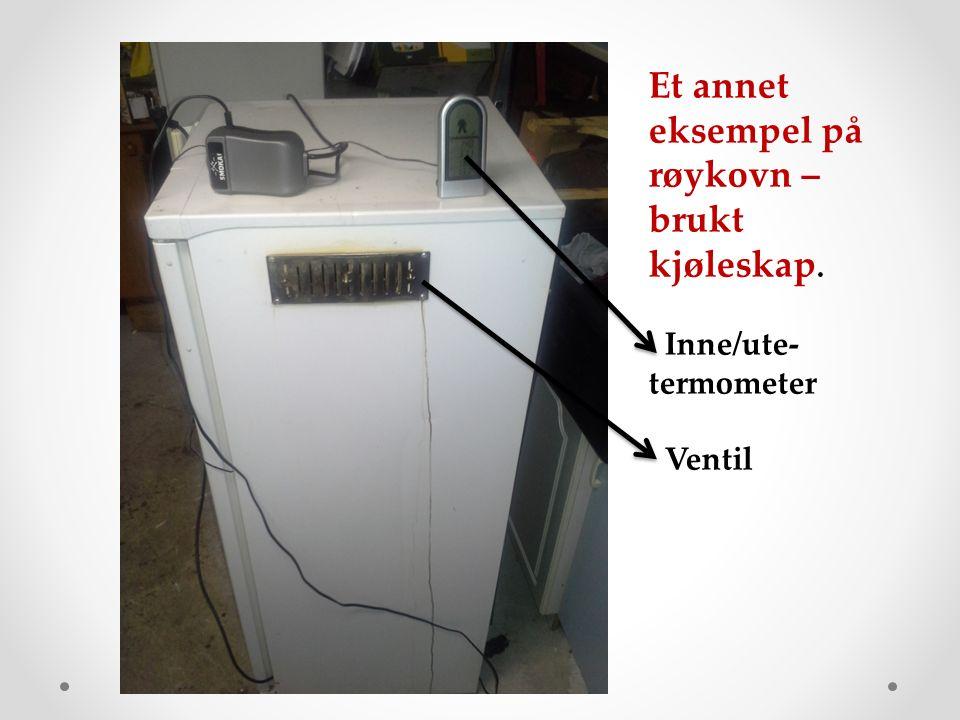 Et annet eksempel på røykovn – brukt kjøleskap. Inne/ute- termometer Ventil