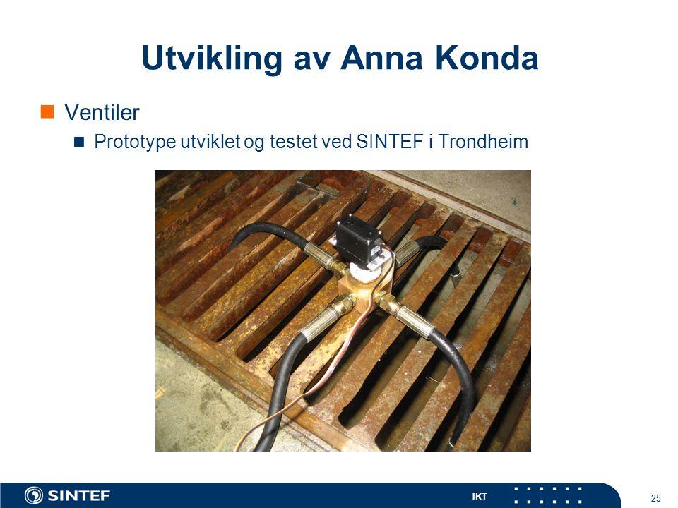IKT 25 Utvikling av Anna Konda Ventiler Prototype utviklet og testet ved SINTEF i Trondheim