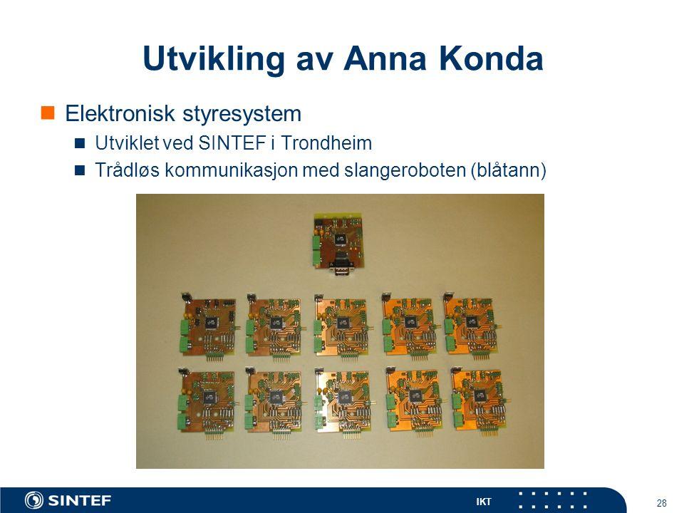 IKT 28 Elektronisk styresystem Utviklet ved SINTEF i Trondheim Trådløs kommunikasjon med slangeroboten (blåtann) Utvikling av Anna Konda