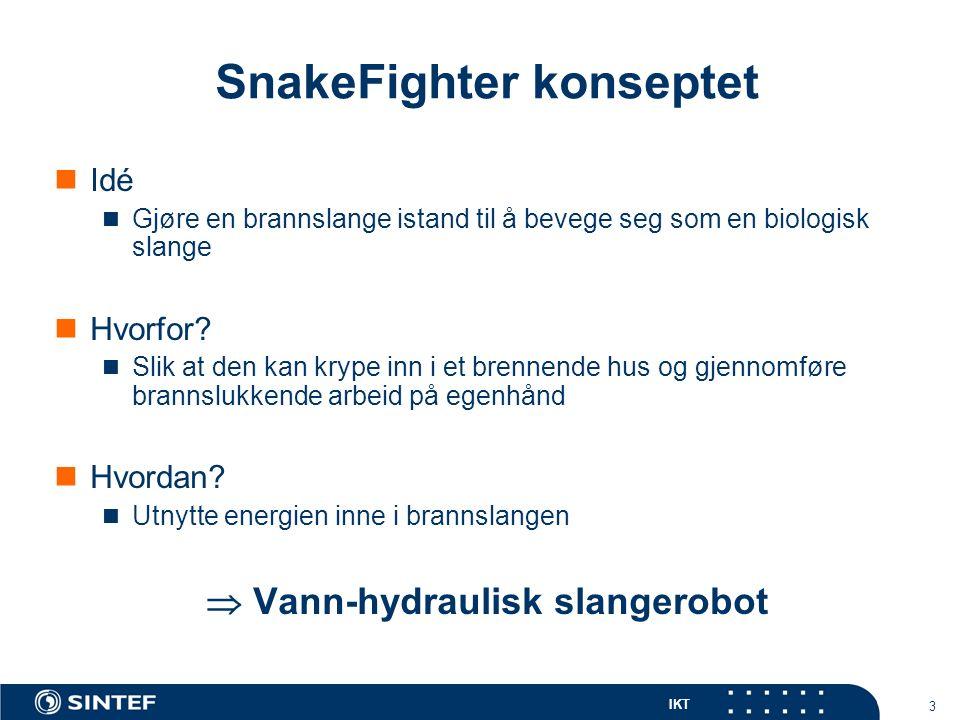 IKT 24 Anna Konda Utvikling av en teknologidemonstrator Krav: Slangerobot med 10 ledd (2 frihetsgrader per ledd) Vann-hydraulisk aktuering (systemtrykk på 100 bar )