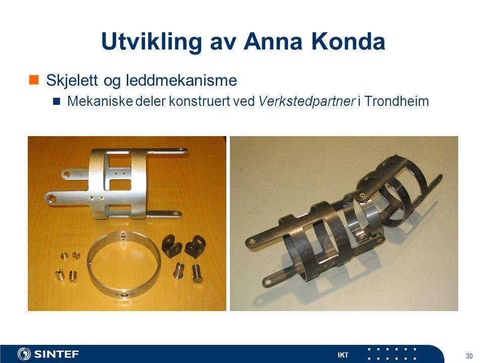 IKT 30 Skjelett og leddmekanisme Mekaniske deler konstruert ved Verkstedpartner i Trondheim Utvikling av Anna Konda