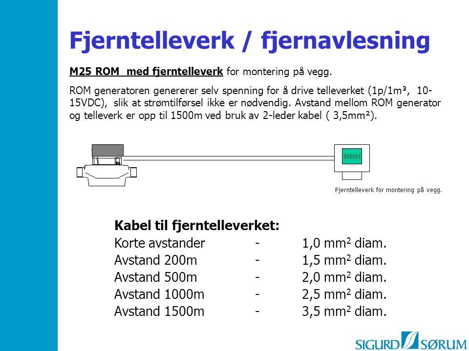 000001 M25 ROM med fjerntelleverk for montering på vegg. ROM generatoren genererer selv spenning for å drive telleverket (1p/1m³, 10- 15VDC), slik at
