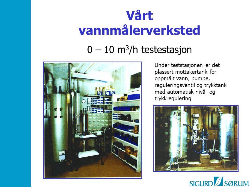 Vårt vannmålerverksted 0 – 10 m 3 /h testestasjon Under teststasjonen er det plassert mottakertank for oppmålt vann, pumpe, reguleringsventil og trykktank med automatisk nivå- og trykkregulering