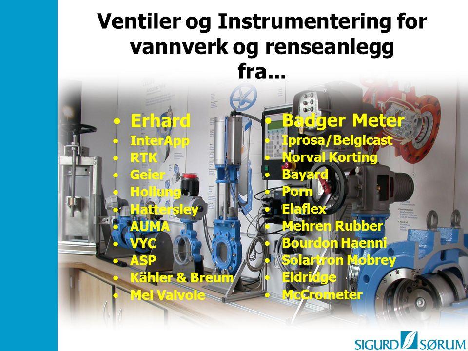 Ventiler og Instrumentering for vannverk og renseanlegg fra... Erhard InterApp RTK Geier Hollung Hattersley AUMA VYC ASP Kähler & Breum Mei Valvole Ba