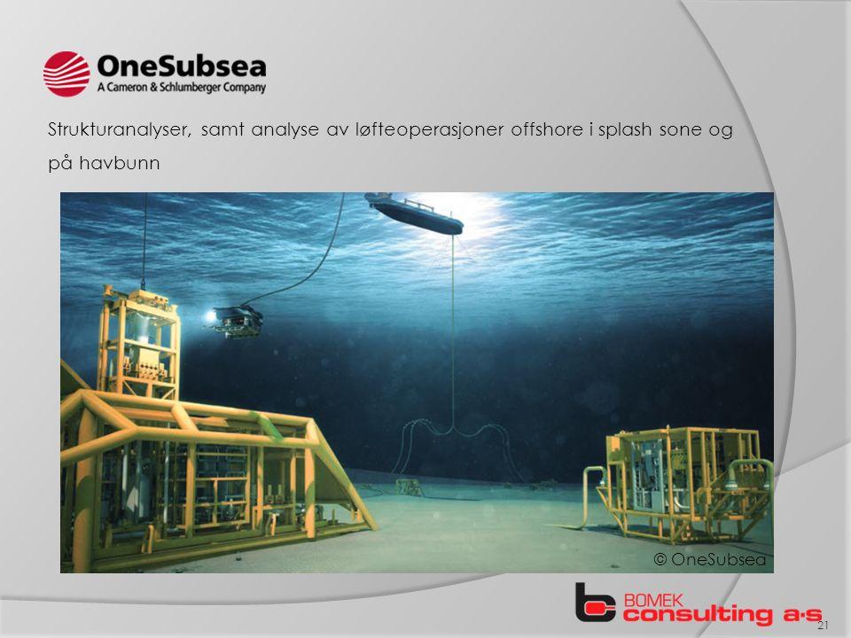Strukturanalyser, samt analyse av løfteoperasjoner offshore i splash sone og på havbunn 21 © OneSubsea