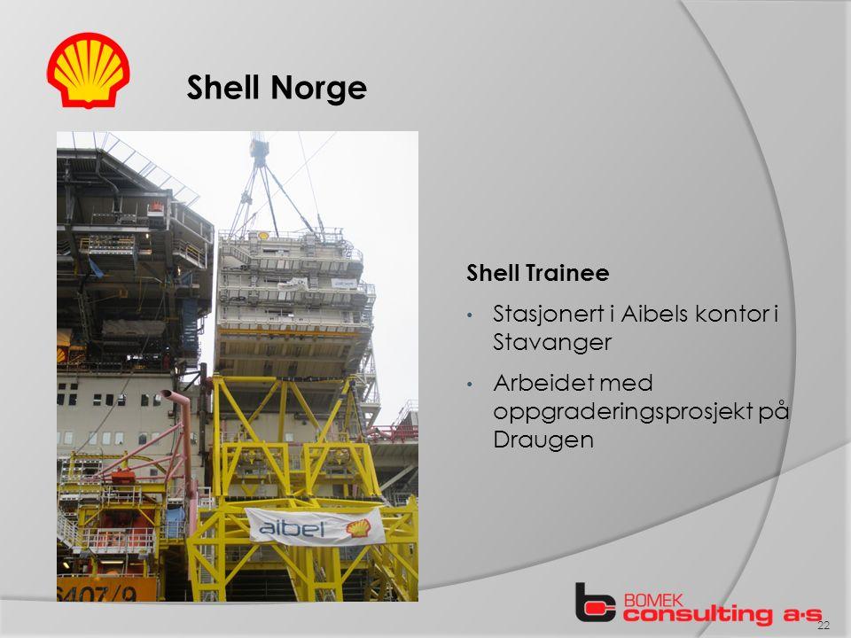 Shell Norge Shell Trainee Stasjonert i Aibels kontor i Stavanger Arbeidet med oppgraderingsprosjekt på Draugen 22