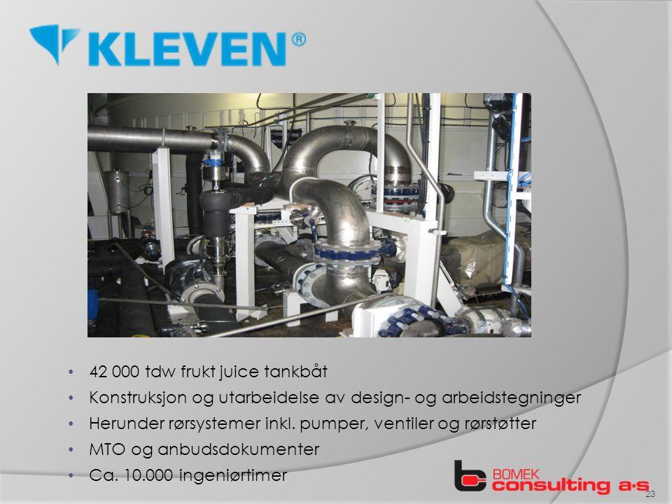 42 000 tdw frukt juice tankbåt Konstruksjon og utarbeidelse av design- og arbeidstegninger Herunder rørsystemer inkl.