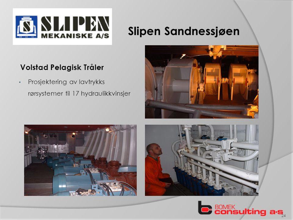 Slipen Sandnessjøen Volstad Pelagisk Tråler Prosjektering av lavtrykks rørsystemer til 17 hydraulikkvinsjer 24