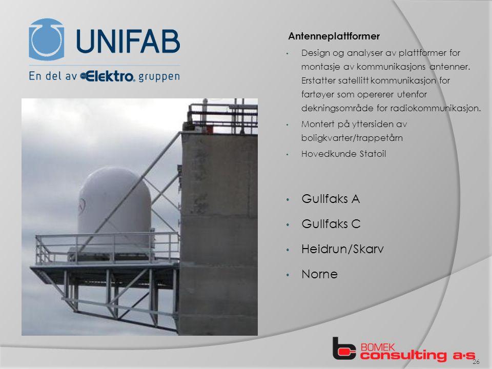Antenneplattformer Design og analyser av plattformer for montasje av kommunikasjons antenner.
