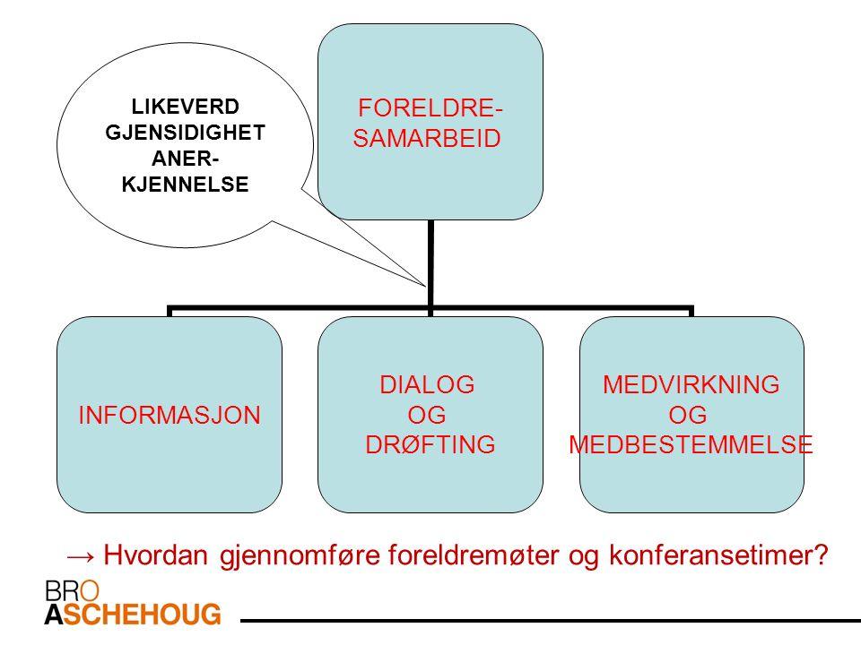 LIKEVERD GJENSIDIGHET ANER- KJENNELSE → Hvordan gjennomføre foreldremøter og konferansetimer
