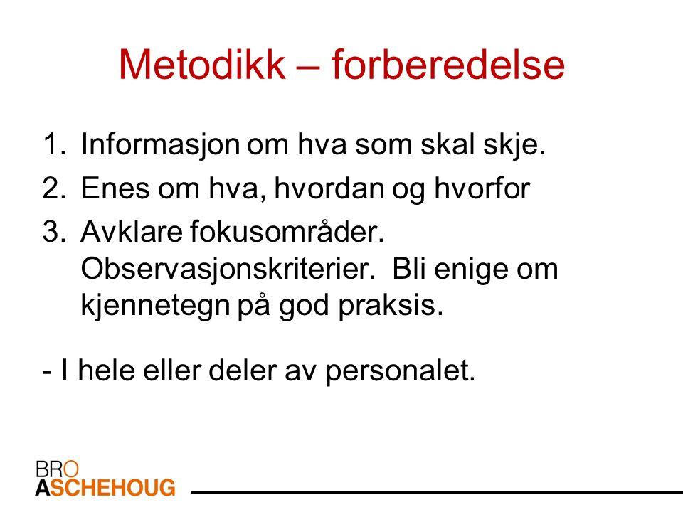 Metodikk – forberedelse 1.Informasjon om hva som skal skje.