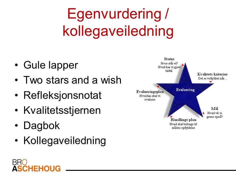 Egenvurdering / kollegaveiledning Gule lapper Two stars and a wish Refleksjonsnotat Kvalitetsstjernen Dagbok Kollegaveiledning