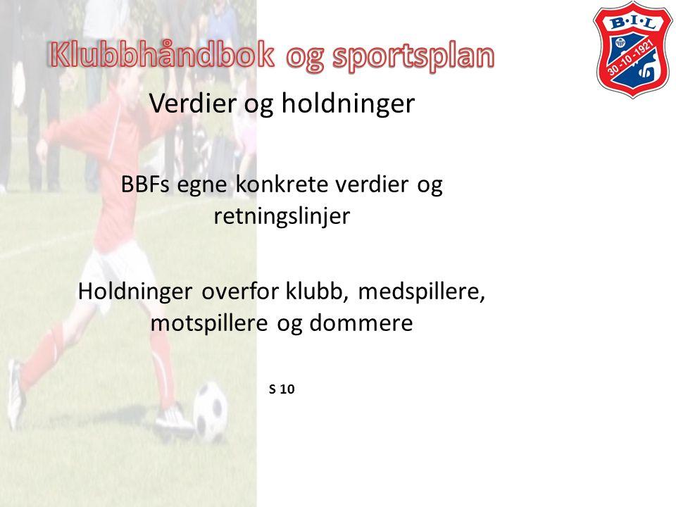 Verdier og holdninger BBFs egne konkrete verdier og retningslinjer Holdninger overfor klubb, medspillere, motspillere og dommere S 10