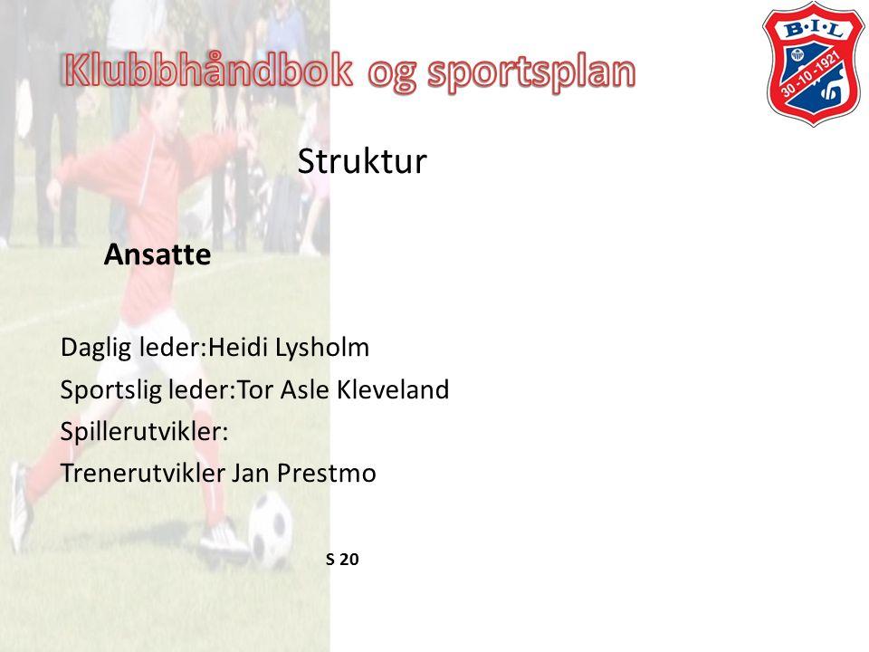 Struktur Ansatte Daglig leder:Heidi Lysholm Sportslig leder:Tor Asle Kleveland Spillerutvikler: Trenerutvikler Jan Prestmo S 20