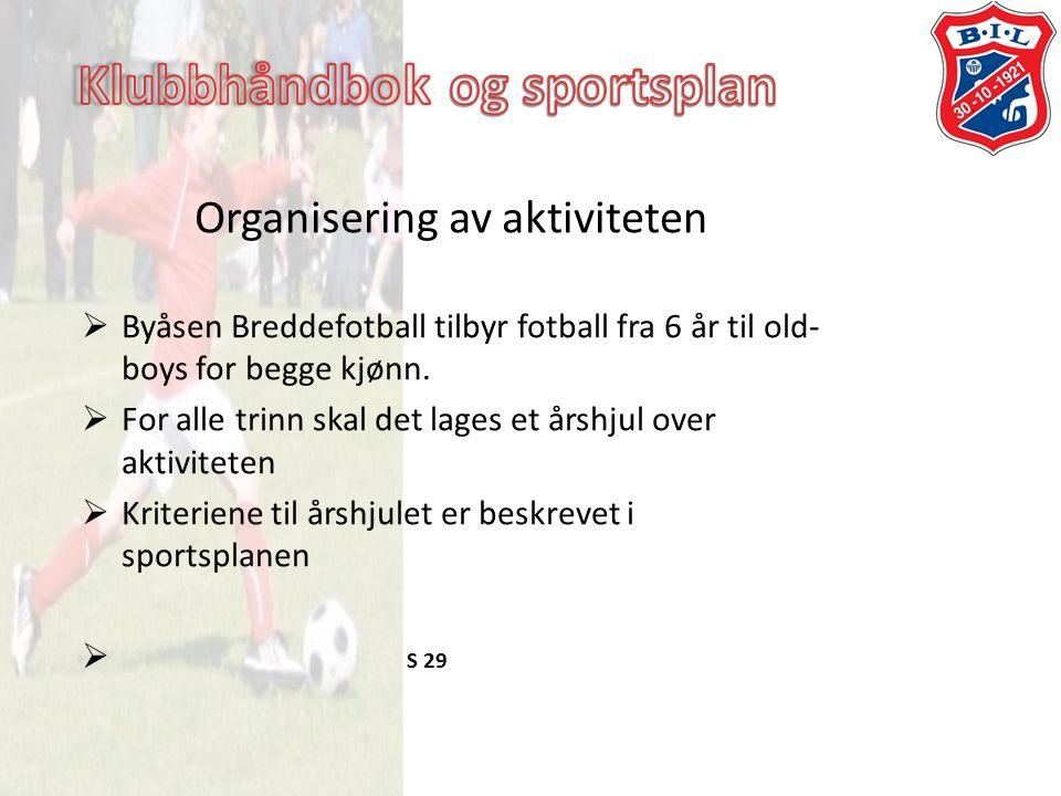 Organisering av aktiviteten  Byåsen Breddefotball tilbyr fotball fra 6 år til old- boys for begge kjønn.