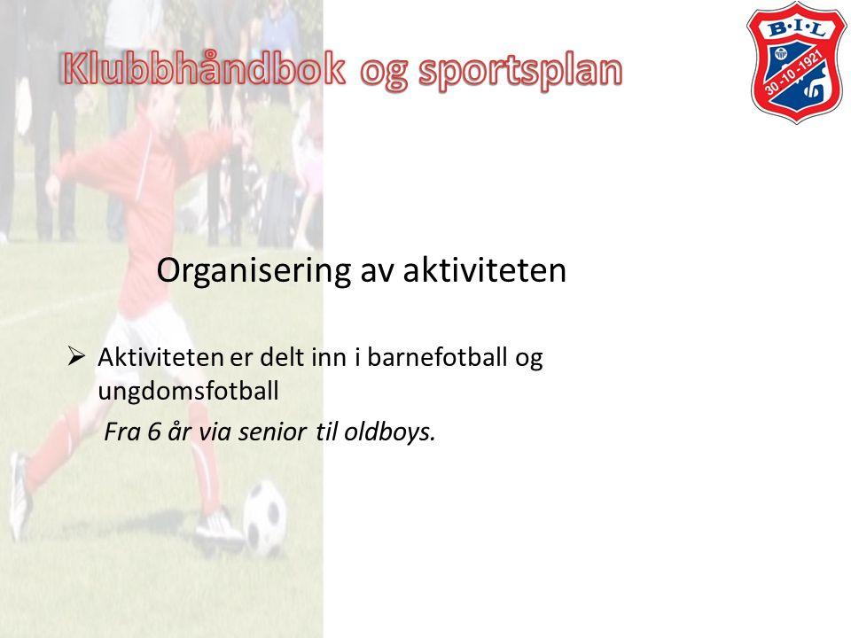 Organisering av aktiviteten  Aktiviteten er delt inn i barnefotball og ungdomsfotball Fra 6 år via senior til oldboys.
