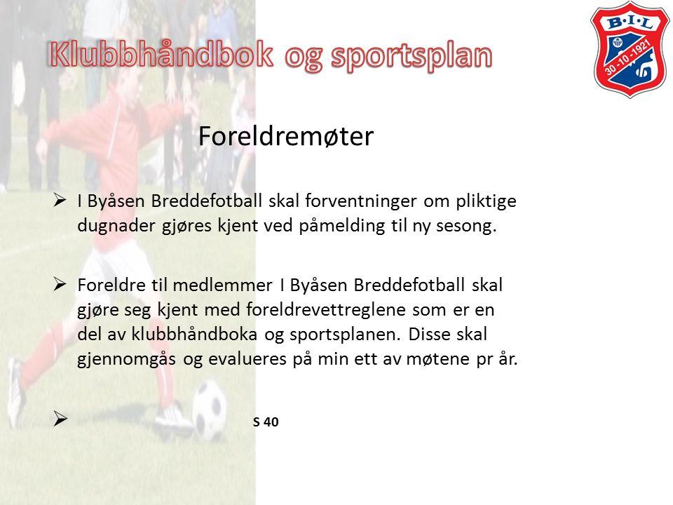 Foreldremøter  I Byåsen Breddefotball skal forventninger om pliktige dugnader gjøres kjent ved påmelding til ny sesong.