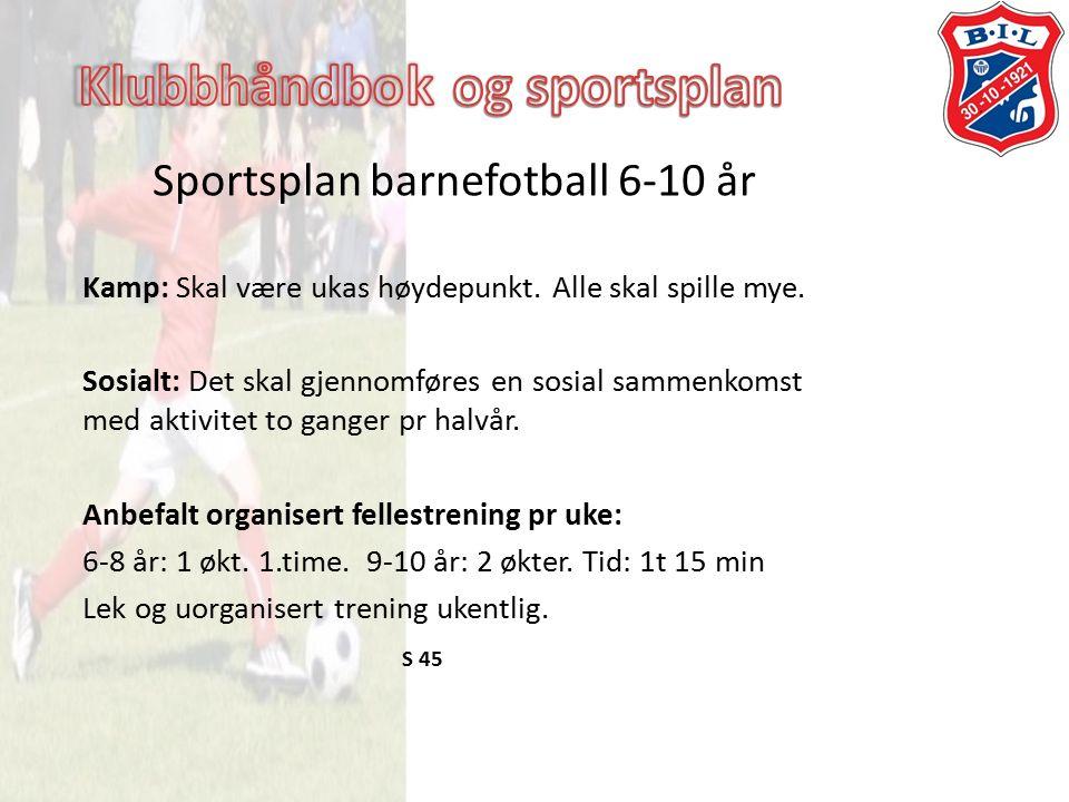 Sportsplan barnefotball 6-10 år Kamp: Skal være ukas høydepunkt.