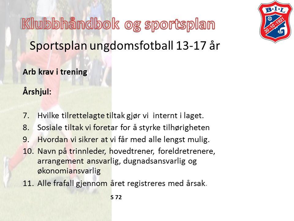 Sportsplan ungdomsfotball 13-17 år Arb krav i trening Årshjul: 7.Hvilke tilrettelagte tiltak gjør vi internt i laget.