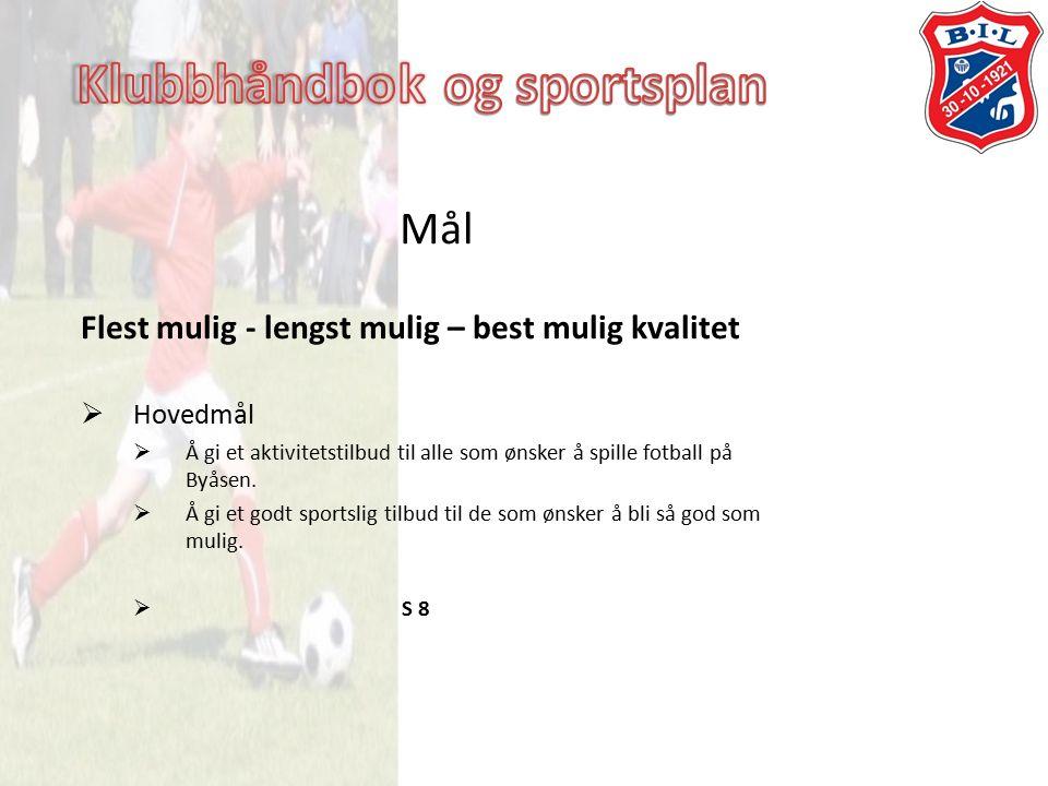 Mål Flest mulig - lengst mulig – best mulig kvalitet  Hovedmål  Å gi et aktivitetstilbud til alle som ønsker å spille fotball på Byåsen.