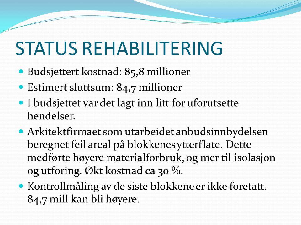 STATUS REHABILITERING Budsjettert sluttdato: 31.oktober 2016 Estimert sluttdato: 31.