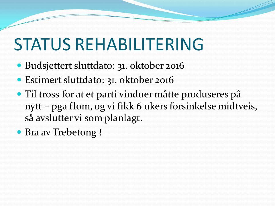 STATUS REHABILITERING Budsjettert sluttdato: 31. oktober 2016 Estimert sluttdato: 31. oktober 2016 Til tross for at et parti vinduer måtte produseres