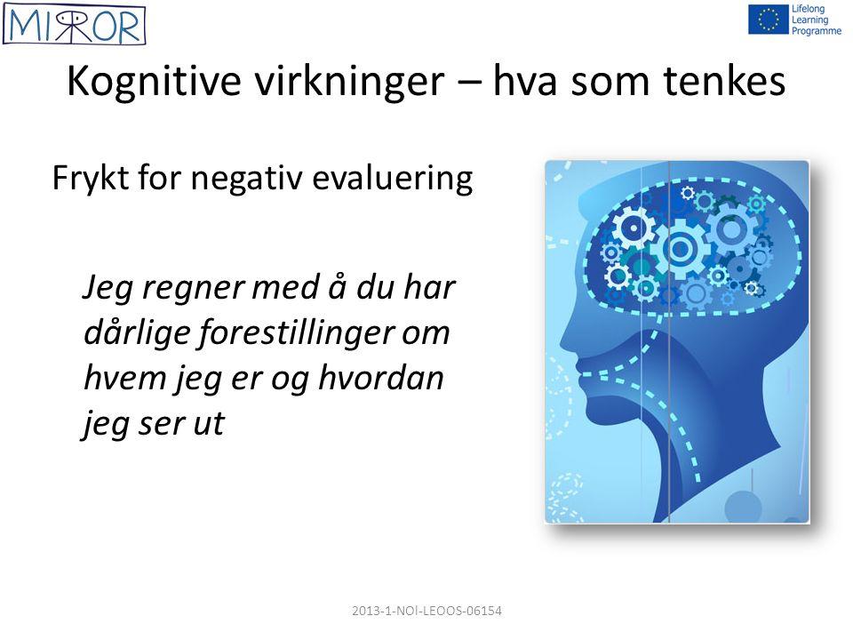 Kognitive virkninger – hva som tenkes Frykt for negativ evaluering Jeg regner med å du har dårlige forestillinger om hvem jeg er og hvordan jeg ser ut 2013-1-NOl-LEOOS-06154