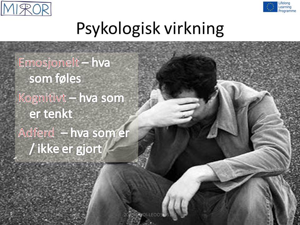 Emosjonelle virkninger – hva som føles Aggresjon Dekker ofte over underliggende frykt og engstelse Engstelse er ikke alltid bevisst 2013-1-NOl-LEOOS-06154