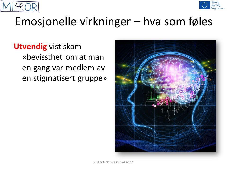 Emosjonelle virkninger – hva som føles Utvendig vist skam «bevissthet om at man en gang var medlem av en stigmatisert gruppe» 2013-1-NOl-LEOOS-06154