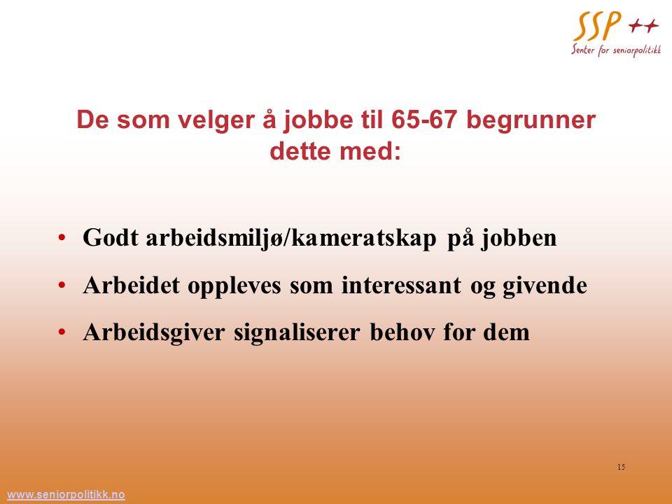 www.seniorpolitikk.no 15 De som velger å jobbe til 65-67 begrunner dette med: Godt arbeidsmiljø/kameratskap på jobben Arbeidet oppleves som interessan