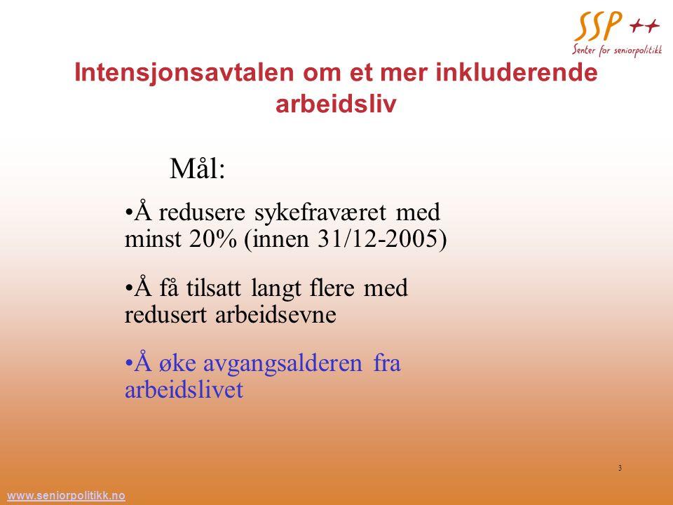 www.seniorpolitikk.no 3 Intensjonsavtalen om et mer inkluderende arbeidsliv Mål: Å redusere sykefraværet med minst 20% (innen 31/12-2005) Å få tilsatt