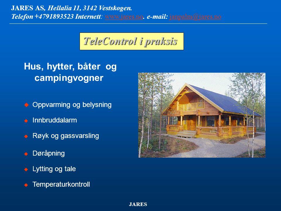 JARES AS, Hellalia 11, 3142 Vestskogen. Telefon +4791893523 Internett: www.jares.no. e-mail: janpalm@jares.nowww.jares.nojanpalm@jares.no JARES Dataov