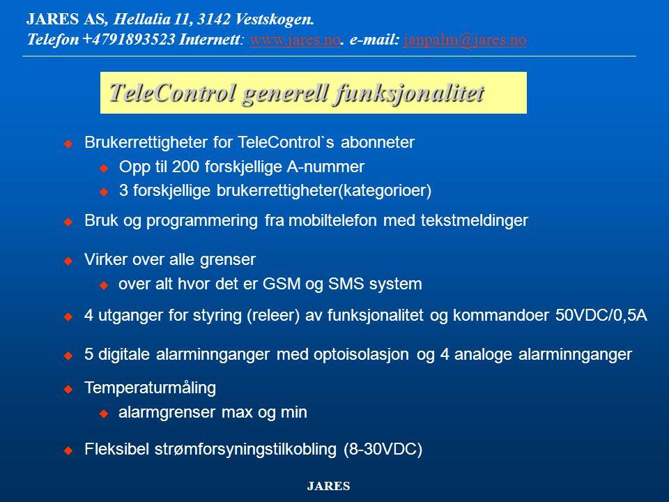 JARES AS, Hellalia 11, 3142 Vestskogen. Telefon +4791893523 Internett: www.jares.no. e-mail: janpalm@jares.nowww.jares.nojanpalm@jares.no JARES TeleCo
