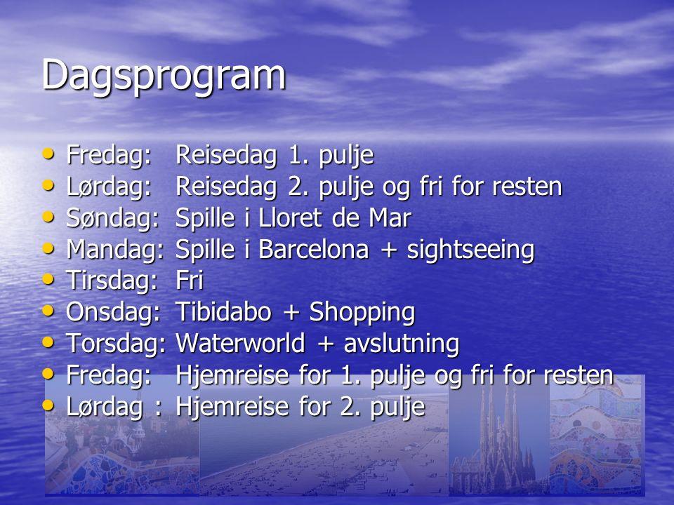 Dagsprogram Fredag:Reisedag 1. pulje Fredag:Reisedag 1.