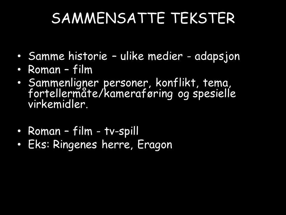 SAMMENSATTE TEKSTER Samme historie – ulike medier - adapsjon Roman – film Sammenligner personer, konflikt, tema, fortellermåte/kameraføring og spesielle virkemidler.