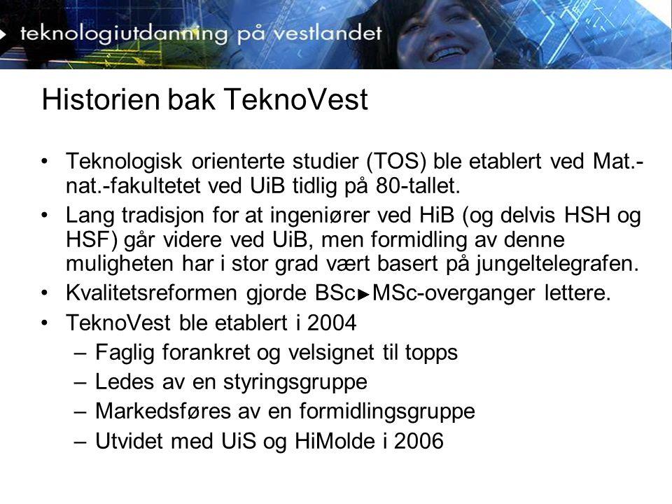 Historien bak TeknoVest Teknologisk orienterte studier (TOS) ble etablert ved Mat.- nat.-fakultetet ved UiB tidlig på 80-tallet.