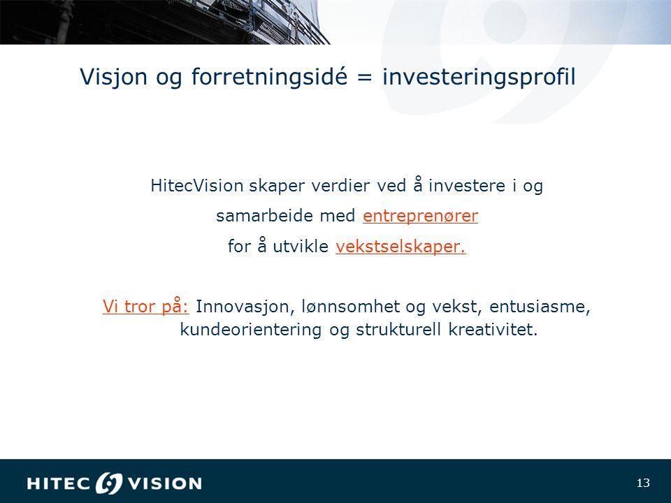 13 Visjon og forretningsidé = investeringsprofil HitecVision skaper verdier ved å investere i og samarbeide med entreprenører for å utvikle vekstselskaper.